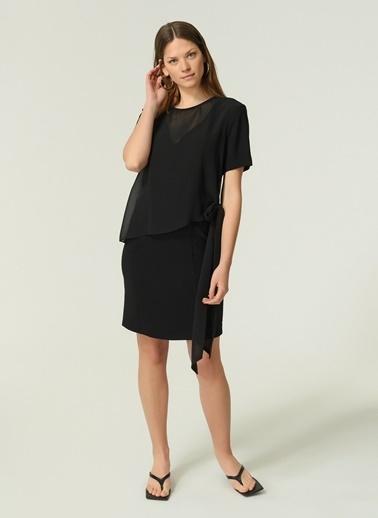 NGSTYLE Kadın Şifon Detaylı  Elbise NGKSS20EL0140 Siyah